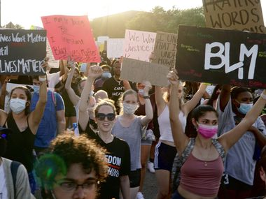 Hundreds of people marched in a protest in Irving, Texas on Monday, June 8, 2020. The protest was to show solidarity in the midst of the latest killing of George Floyd, an African American man in Minnesota.