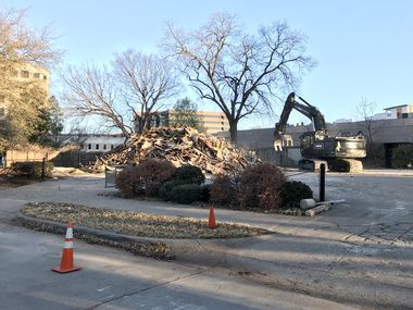 The Ginger Man pub in Uptown Dallas was demolished in March 2021. Here's what's left of the decades-old home at Boll and Howell streets on the morning of March 19, 2021.
