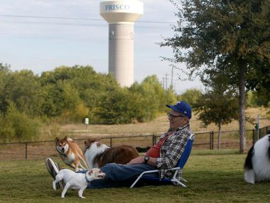 A man is pictured at Ruff Range Dog Park in Frisco prior to the coronavirus pandemic. The park is one of the areas the city council plans to reopen in May.