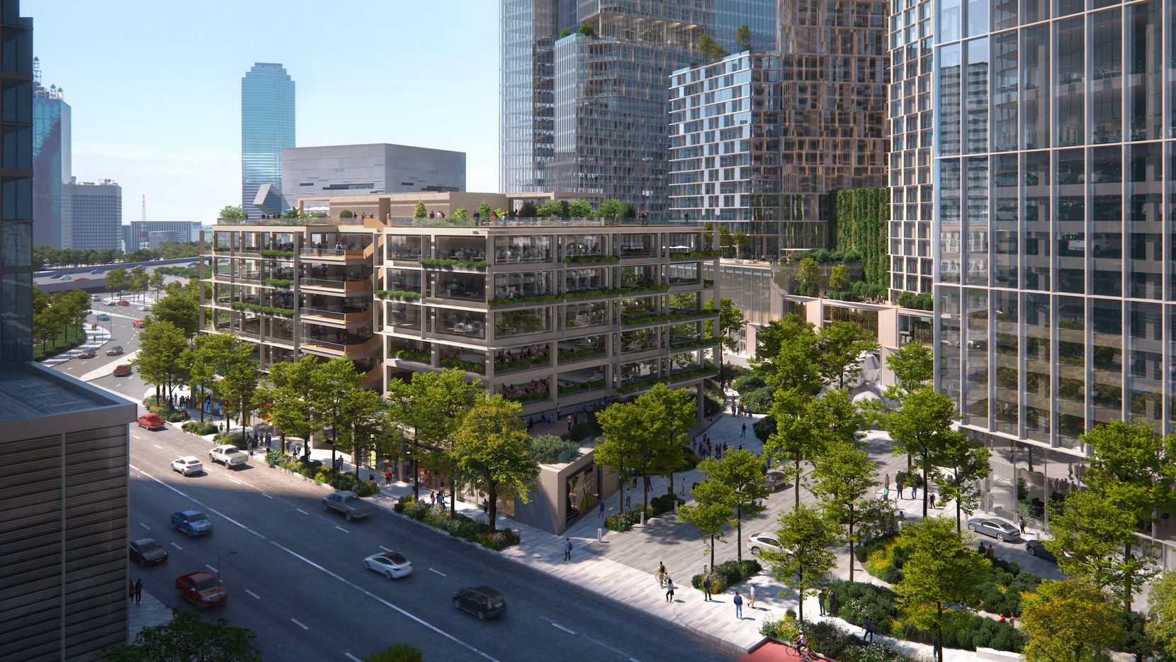 This seven-story office building Hunt Realty is planning just north of downtown Dallas would be built with engineered timbers and wood construction.