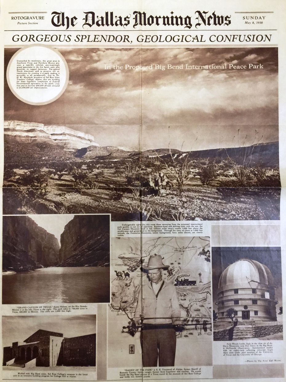 """The Dallas Morning News 1938 article about the """"Proposed Big Bend International Peace Park."""""""