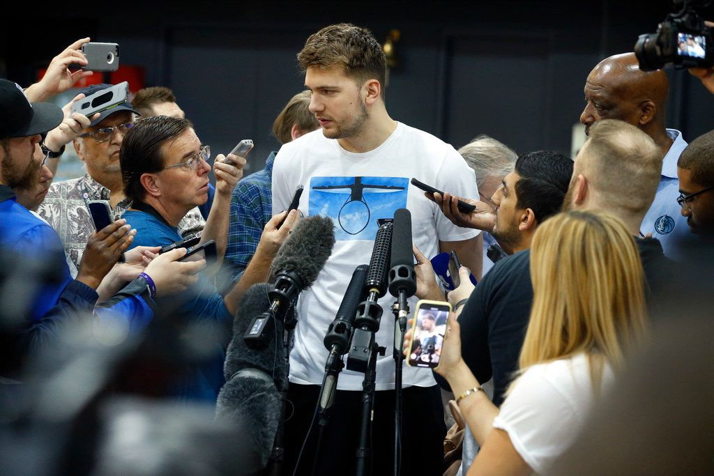 FILE - Dallas Mavericks rookie forward Luka Doncic visits with the media a day after the teams last game of the season. The interview took place at the American Airlines Center in Dallas, Thursday, April 11, 2019. (Tom Fox/The Dallas Morning News)