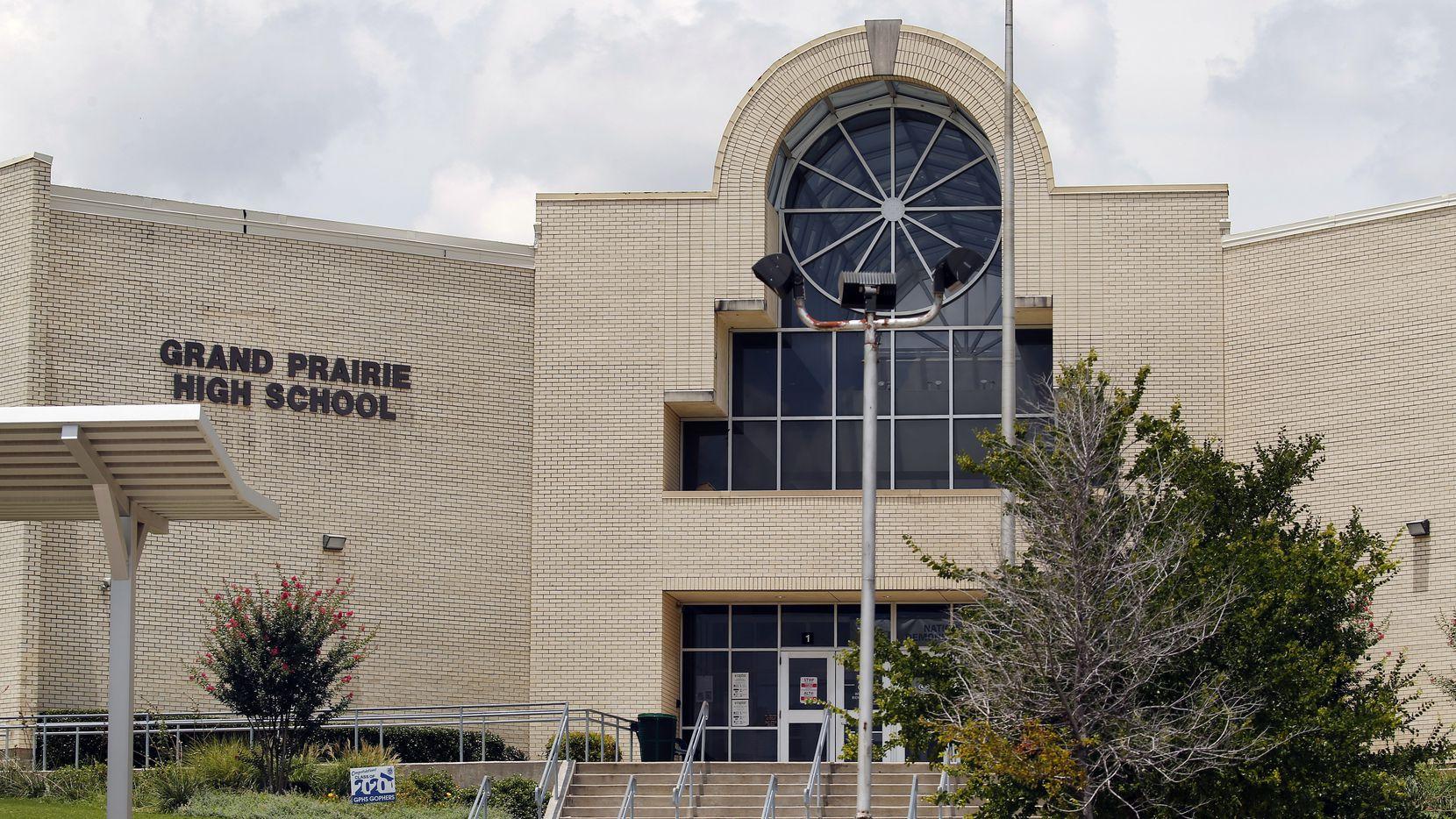 An exterior view of Grand Prairie High School in Grand Prairie, Texas, Thursday, June 25, 2020.