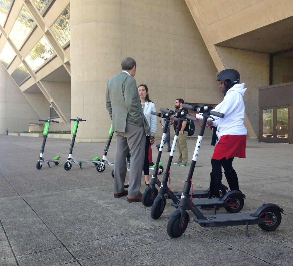 City employees took rides on electric scooters Wednesday.