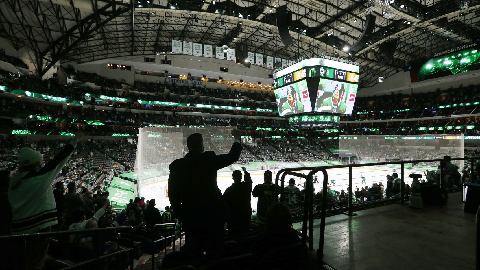 Dallas Stars fans celebrate the third goal of the game from Dallas Stars right wing Denis Gurianov (34) against the Nashville Predators during the second period of play in the Stars home opener at American Airlines Center on Friday, January 22, 2021in Dallas.