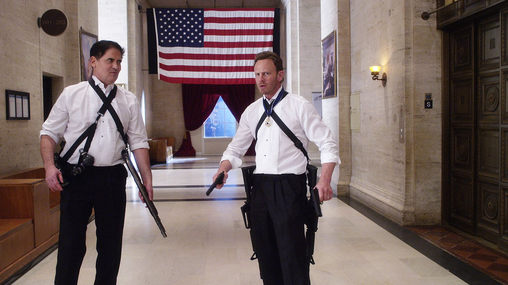 Mark Cuban (as U.S. President Marcus Robbins) and Ian Ziering (Fin Shepard) are shark-hunting in the White House.