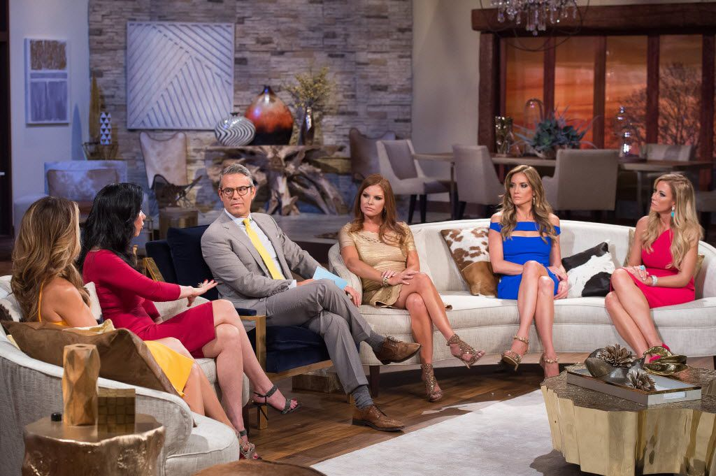 """Tiffany Hendra, LeAnn Locken, Andy Cohen, Brandi Redmond, Carey Deuber and Stephanie Hollman chopped it up at the reunion show after the first season of """"Real Housewives of Dallas"""" concluded. There are lots of rumors about Season 2. The only thing anyone knows for sure is that the show is coming back for more."""