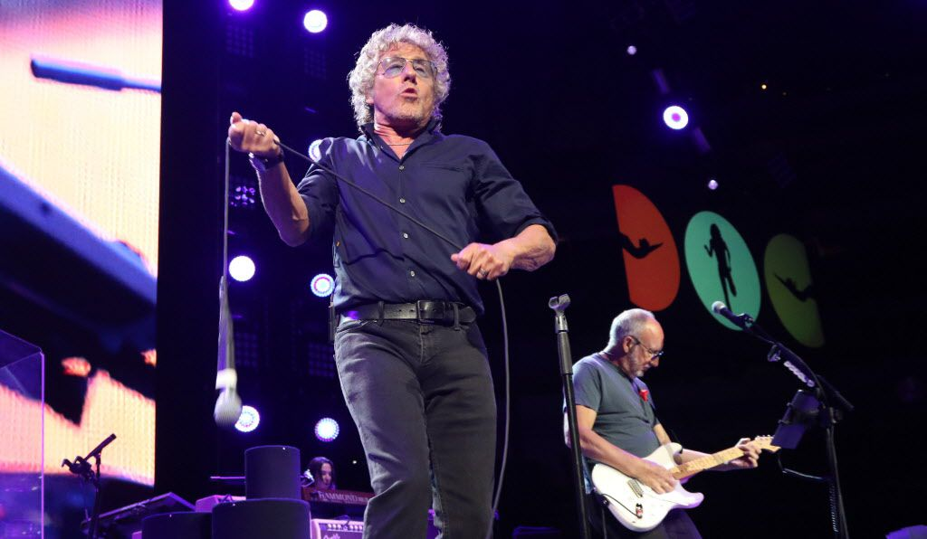 Roger Daltrey twirls his microphone during a Who concert at American Airlines Center on Saturday, May 2, 2015 in Dallas.