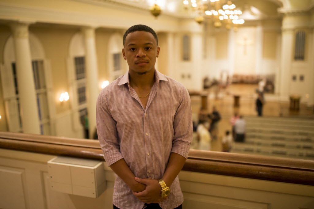 Seth Cowley poses for a portrait at the SMU Perkins School of Theology on July 14, 2016 in Dallas. Cowley, and eighteen of the Project Transformation interns, were at the Black Lives Matter rally when the rifle armed gunman Micah Johnson started firing, killing five police officers and injured another 7 last Thursday night in downtown Dallas. (Ting Shen/The Dallas Morning News)