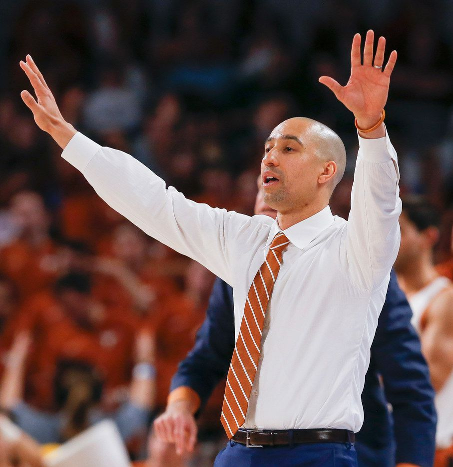 FILE - Texas head coach Shaka Smart works the sideline during the second half of a game against Texas A&M in the Lone Star Showdown on Sunday, Dec. 8, 2019, at Dickies Arena in Fort Worth.