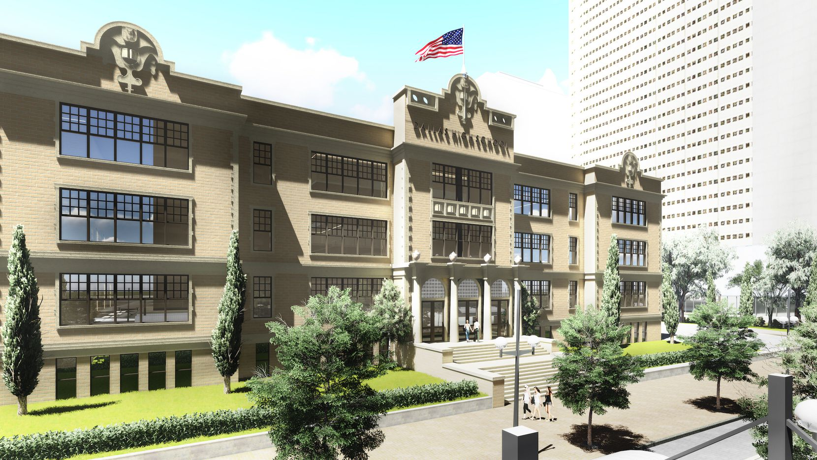 The planned rental community would be constructed east of the historic school building on Bryan Street.