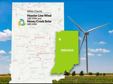 Tri Global Energy is selling a 180-megawatt wind farm and a 400-megawatt solar array in Indiana to Leeward Renewable Energy.