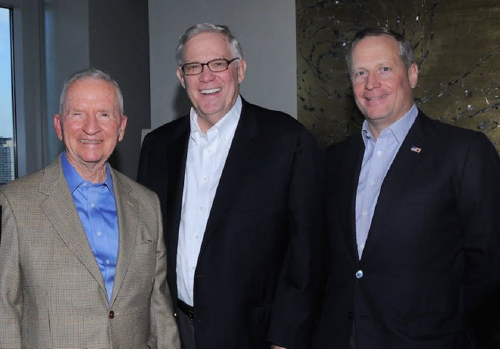 Tom Luce is flanked by Ross Perot and Ross Perot Jr.