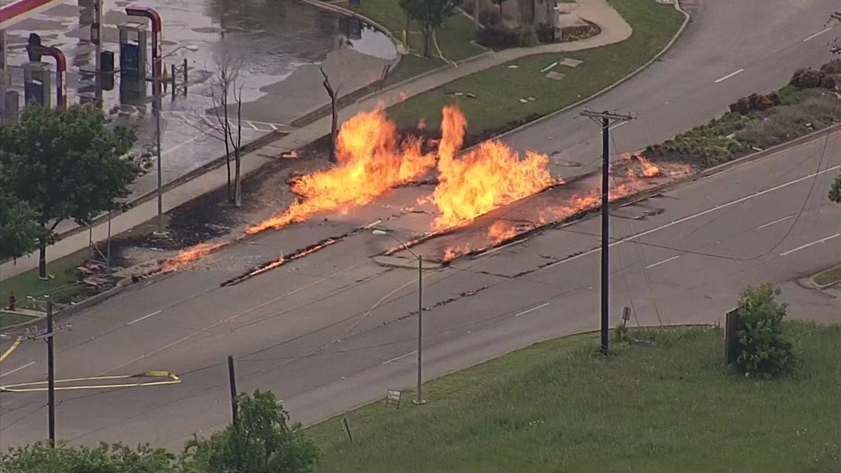A aerial photo of a natural gas leak that led to a fire around Mayfield Road and Forum Drive in Grand Prairie on Saturday, April 18, 2020, captured by KXAS-TV (NBC5).