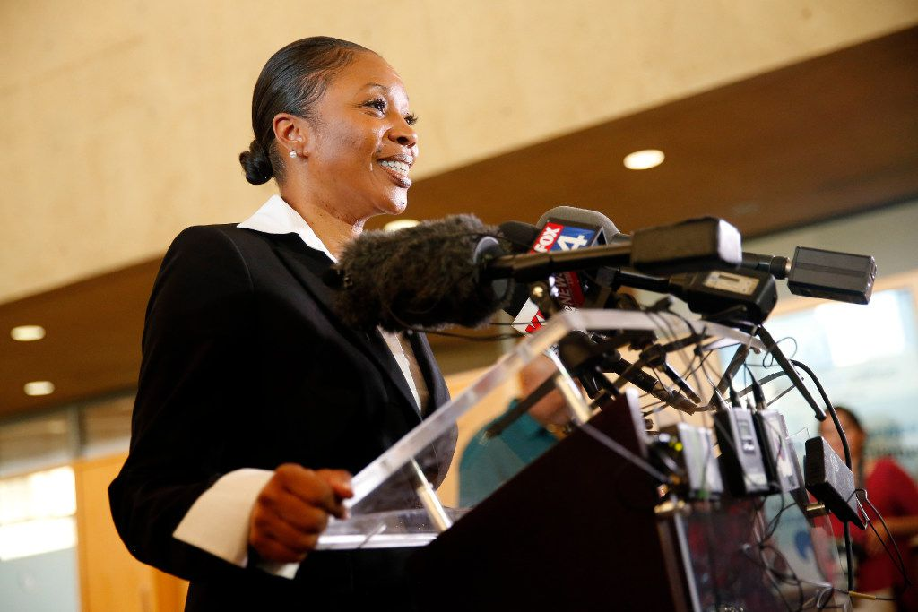 Renee Hall, a Deputy Chief at the Detroit Police Department, answers questions from the media during a Dallas Police Chief candidate meet and greet at Dallas City Hall  July 11. (Tom Fox/The Dallas Morning News)