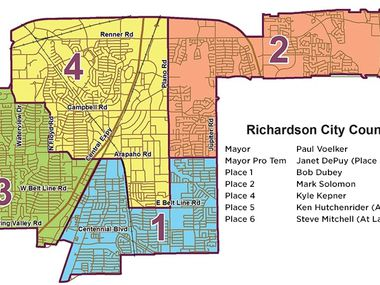 Richardson City Council members and place boundaries.