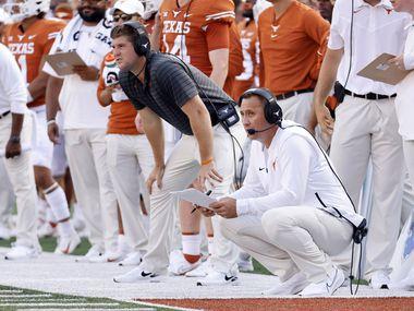 Texas Longhorns head coach Steve Sarkisian follows the play on the field as they faced the Louisiana-Lafayette Ragin Cajuns during the second half at DKR-Texas Memorial Stadium in Austin, Saturday, September 4, 2021.