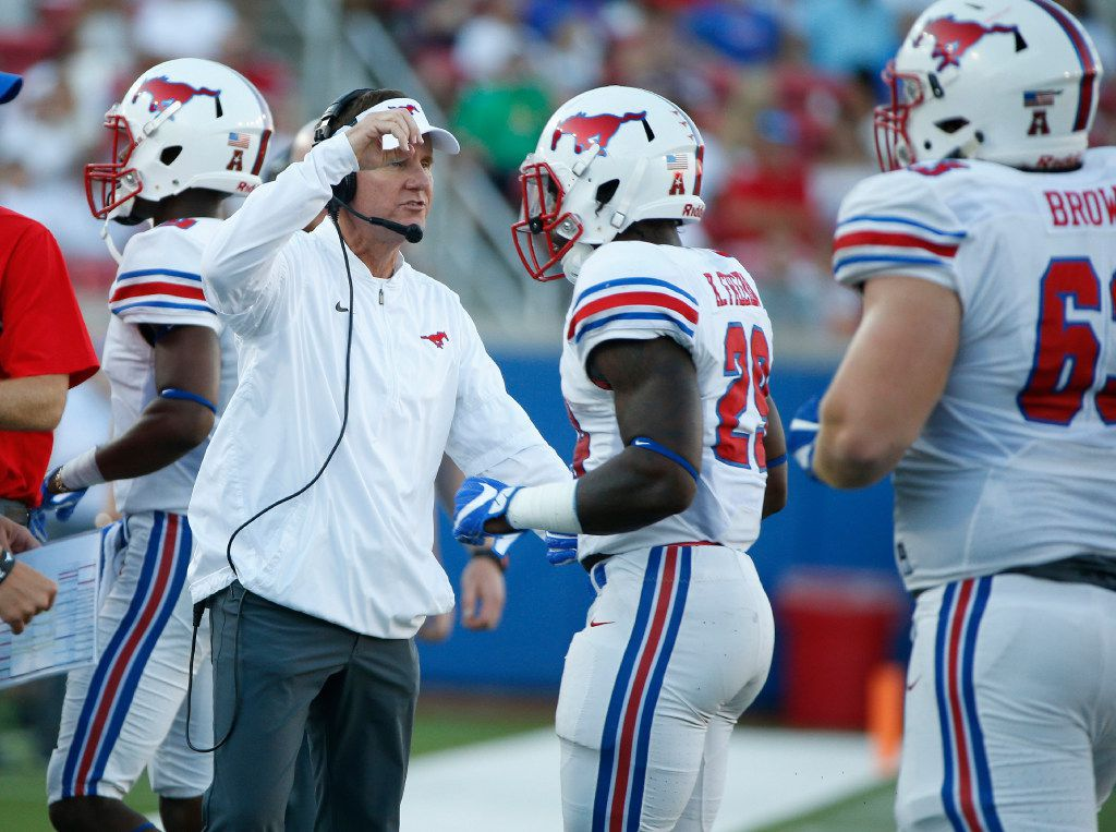 Southern Methodist Mustangs head coach Chad Morris in the first half at Gerald J. Ford Stadium in Dallas, Texas on Saturday Sept. 17, 2016.  (Nathan Hunsinger/The Dallas Morning News)