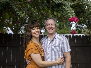 Allison Pistorius, left, and Chris Hury pose for a portrait at their home in the Dallas area on Monday, July 19, 2021. Pistorius and Hury, two of Dallas' most gifted actors, had their world turned upside down by the pandemic. Hury was unemployed for months after March 2020. Pistorius has worked as a teacher at SMU, but much of that was done virtually. Hury recently got a job teaching in Terrell, Texas, so he is now moving away from live theater. (Lynda M. González/The Dallas Morning News)