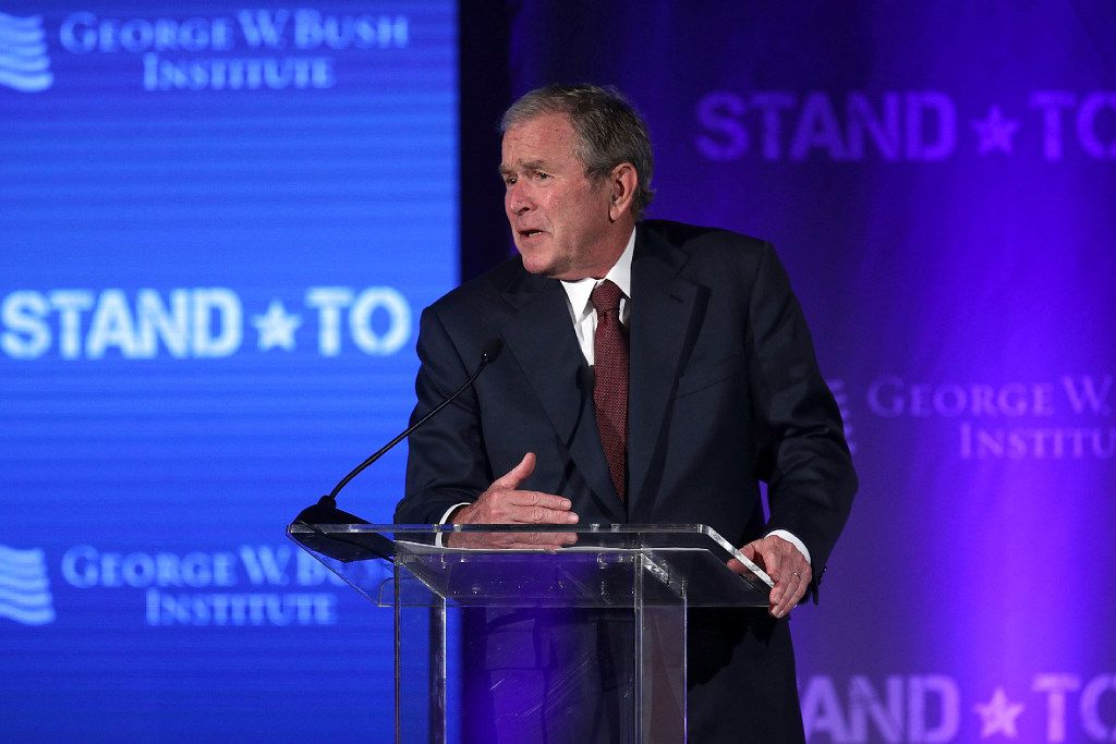 Former President George W. Bush spoke Friday at the U.S. Chamber of Commerce in Washington, D.C. The George W. Bush Institute hosted the conference to address veterans issues.