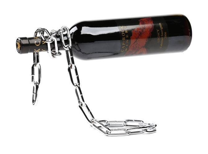 Defying gravity: Welded of chrome-plated iron, this chain link wine bottle holder gives the illusion of standing on its own in midair and does double duty as a work of modern art. Suitable for all standard bottle sizes. $38 at Speranza Design Gallery.