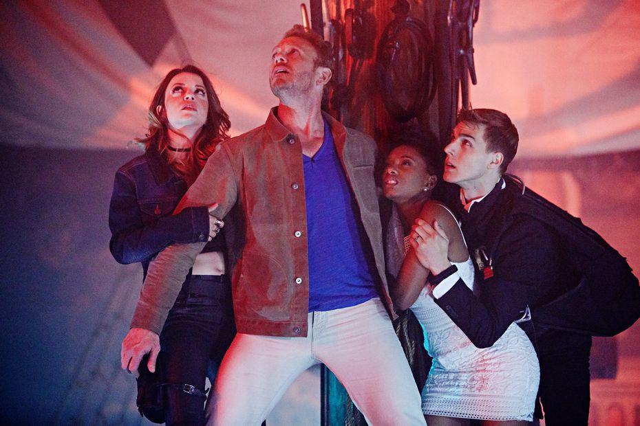 Masiela Lusha as Gemini, Ian Ziering as Fin Shepard, Imani Hakim as Gabrielle, Cody Linley as Matt Shepard will lead the fight against flying sharks.