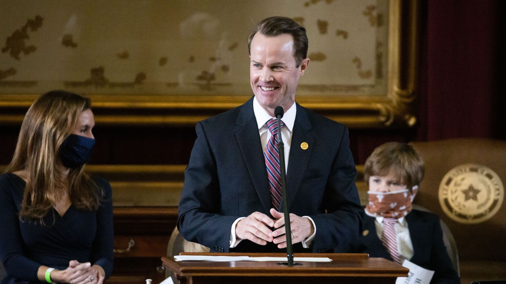 Newly elected Speaker of the Texas House Dade Phelan gives his acceptance address during the House opening ceremony for the 87th Texas Legislature at the Texas Capitol building in Austin, Texas, on Tuesday, Jan. 12, 2021. (Lynda M. González/The Dallas Morning News)