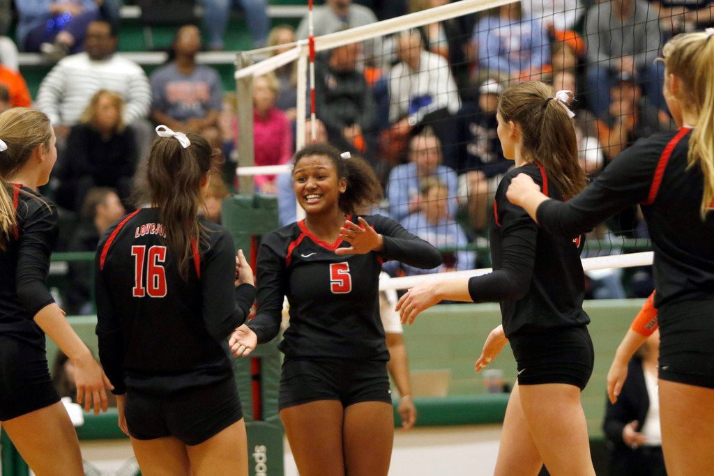 Lovejoy outside hitter Cecily Bramschreiber (5) celebrates after scoring during the 4th set of their match against Frisco Wakeland. Lovejoy prevailed, 25-16, 25-15, 22-25, 25-19 to advance to the next level of the playoffs. The two teams played their Class 5A Region ll volleyball championship match at Richardson Berkner Gymnasium in Richardson on November 10, 2018.  (Steve Hamm/ Special Contributor)