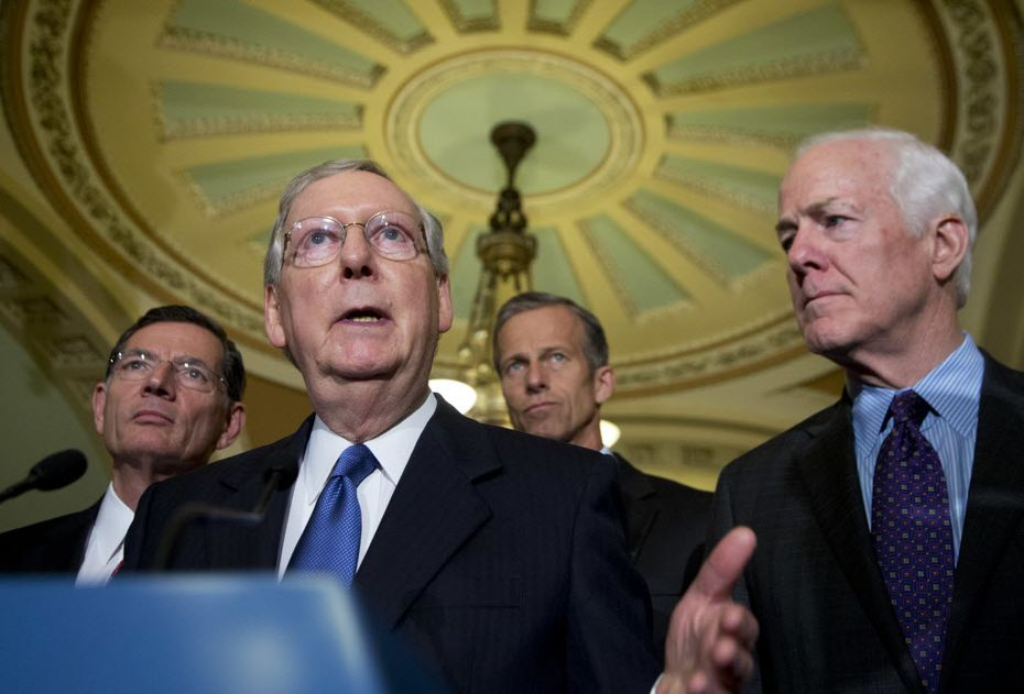 Senate Majority Leader Mitch McConnell, with Sen. John Cornyn earlier this month, has pushed for Judge Merrick Garland to get the FBI job.
