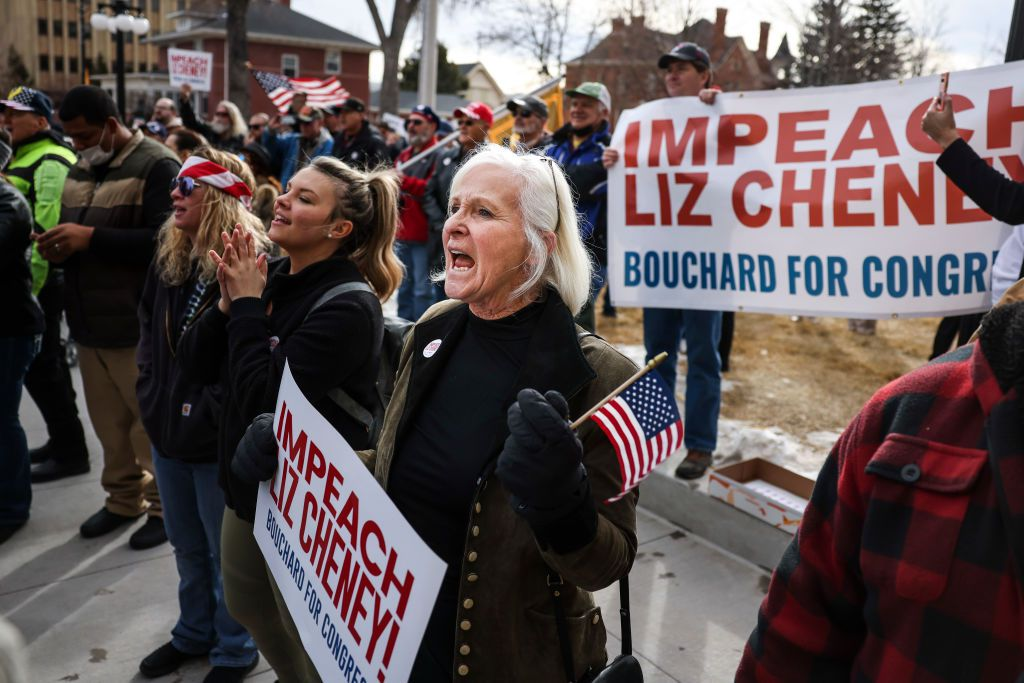 Protesters in Cheyenne, Wyo., demand the removal of U.S. Rep. Liz Cheney on May 18, 2021.