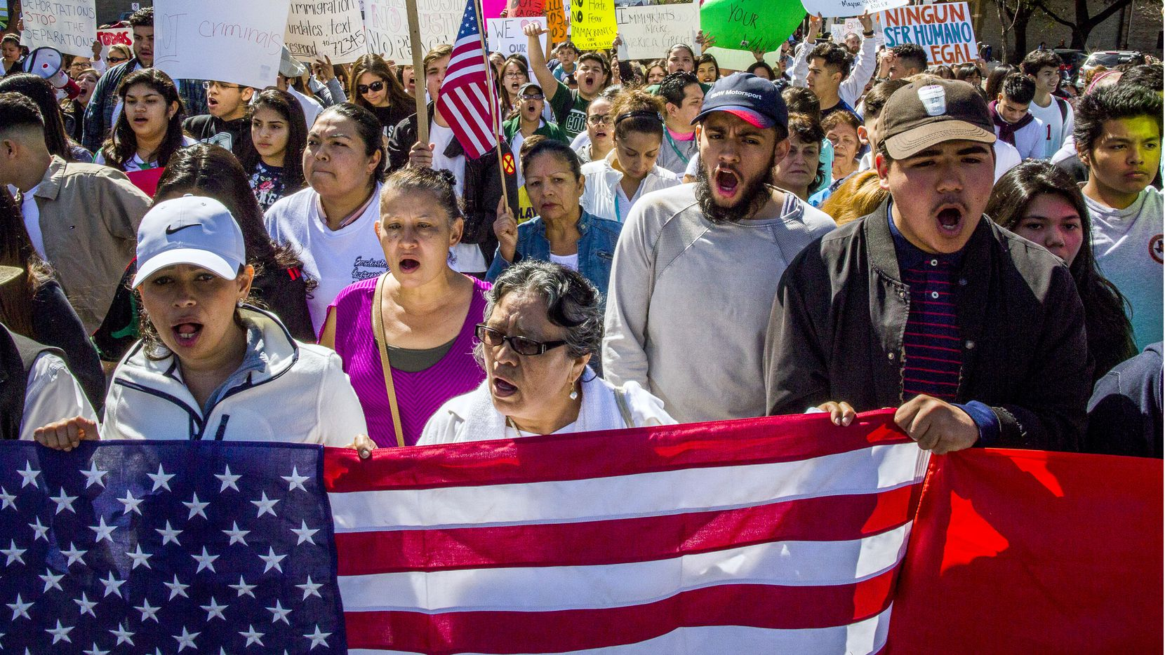 Protesters march in the streets outside the Texas State Capital on 'A Day Without Immigrants' February 16, 2017 in Austin, Texas.  The crowd, which grew to well over a thousand participants, marched from the Austin City Hall to the Texas State Capital. Across the country hundreds of restaurants and eateries are closing for the day to protest President Trump's immigration policies and to highlight the contributions of immigrants to U.S. business and life.  (Photo by Drew Anthony Smith/Getty Images)