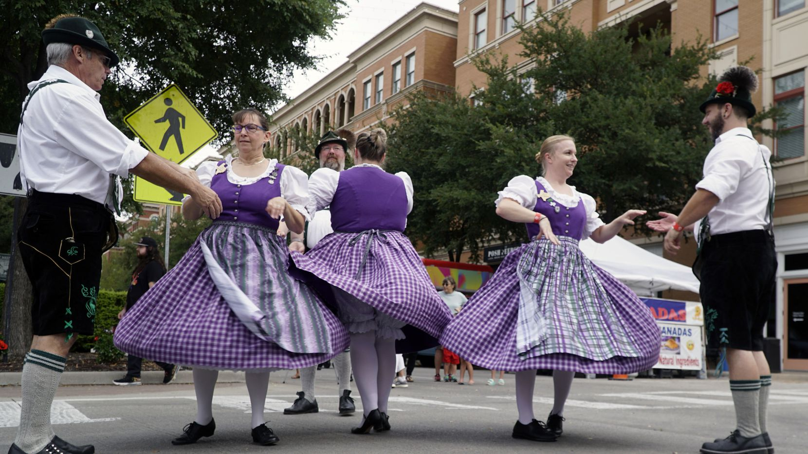 Dancers perform at the 2nd Annual Oktoberfest at Frisco Square in Frisco, Texas on Saturday, October 2, 2021. (Lawrence Jenkins/Special Contributor)