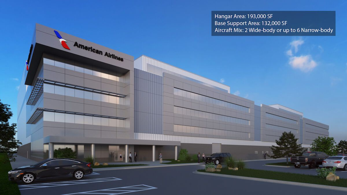 Renderings of the new buildings planned for the American Airlines maintenance base at Tulsa International Airport.
