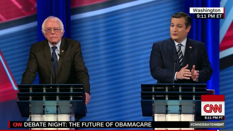 In this screen grab, Texas Sen. Ted Cruz debates Vermont Sen. Bernie Sanders at a CNN town hall over the future of healthcare in America. Republicans have vowed to repeal and replace the Affordable Care Act, but haven't yet settled on a replacement plan. (Staff)