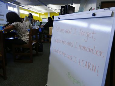 A quote from Benjamin Franklin greets teachers at a DISD ACE (Accelerating Campus Excellence) workshop at Blanton Elementary School in southeast Dallas in August 2015. ACE schools were designed to have more resources, longer school hours and some of the best principals and teachers in the school district in hopes of bringing up performance levels. But now the beefed up pay will go away for many.