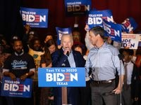 Former Rep. Beto O'Rourke endorses Democratic presidential primary candidate Joe Biden during a rally at Gilley's in Dallas on March 2, 2020.