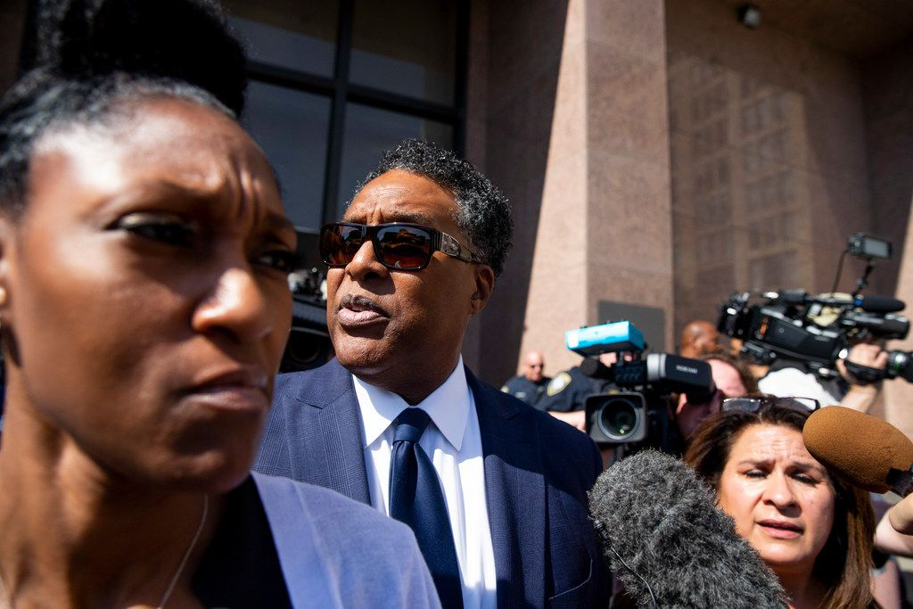 Dwaine Caraway leaves the Earle Cabell Federal Building in April 2019, after being sentenced 56 months in a federal corruption case involving the Dallas County Schools. He is now a government witness in a second alleged bribery case, this time involving Dallas City Hall.