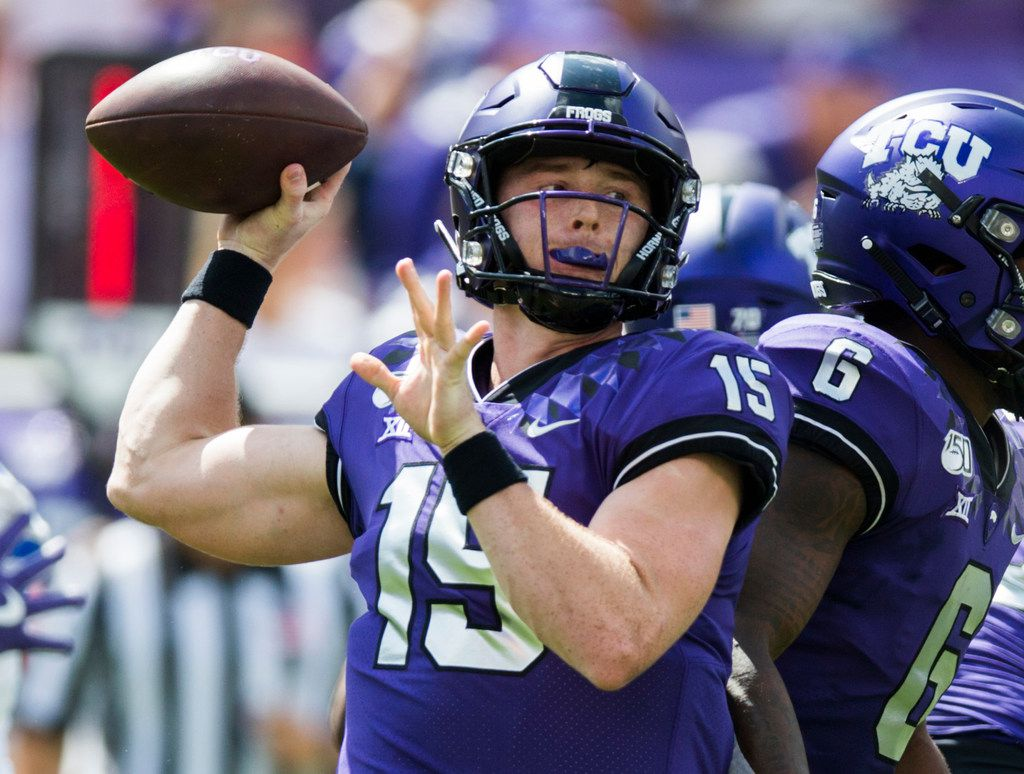 TCU Horned Frogs quarterback Max Duggan (15) throws a pass during the first quarter of a college football game between SMU and TCU on Saturday, September 21, 2019 at Amon G. Carter Stadium in Fort Worth.