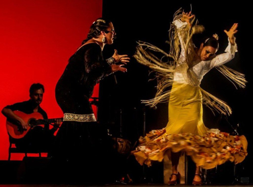 "Valeria Montes, right, performing with singer Ana Maria Polanco, is one of the leading flamenco dancers in the United States. She headlines Ida y Vuelta's Flamenco's July 7 Dallas show, ""Bienvenidos! Valeria."""