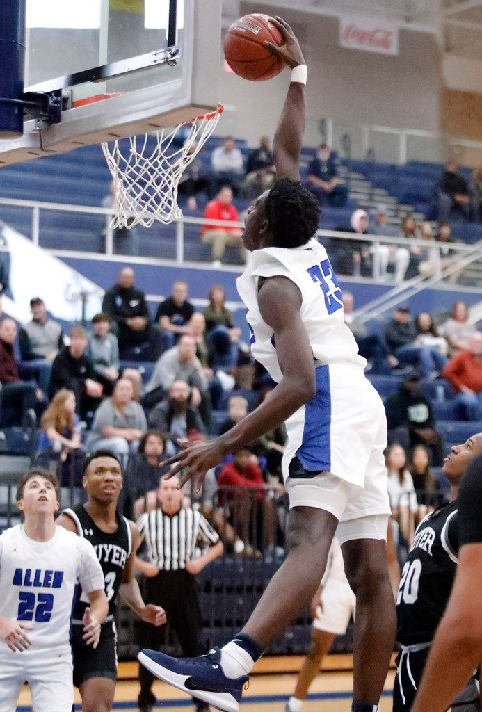 Allen High School center Elijah Obaseki (23) goes up for a dunk during the first half as Allen High School hosted Denton Guyer High School in a non-district basketball game on Tuesday, December 3, 2019. (Stewart F. House/Special Contributor)