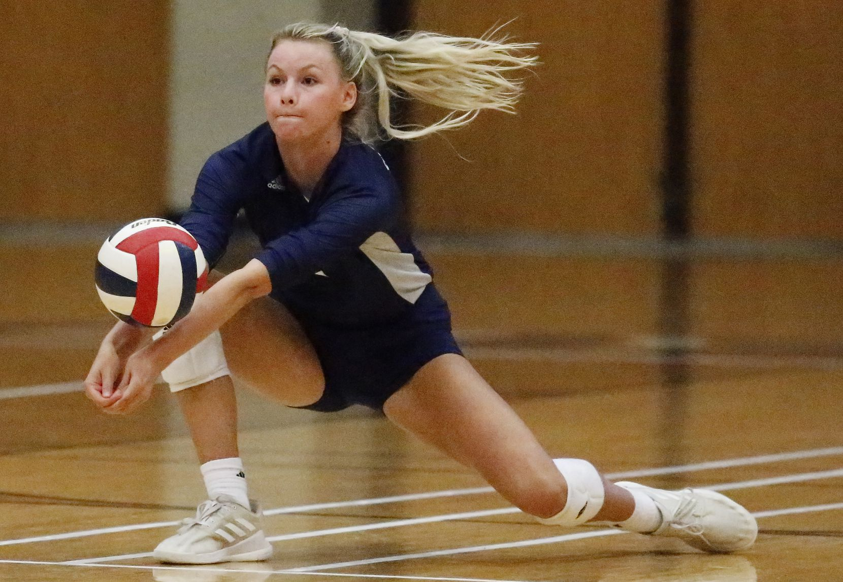 Flower Mound High School outside hitter Gabby Walker (9) receives a serve during game three as McKinney Boyd High School hosted Flower Mound High School at McKinney Boyd High School on Tuesday evening, September 7, 2021. (Stewart F. House/Special Contributor)