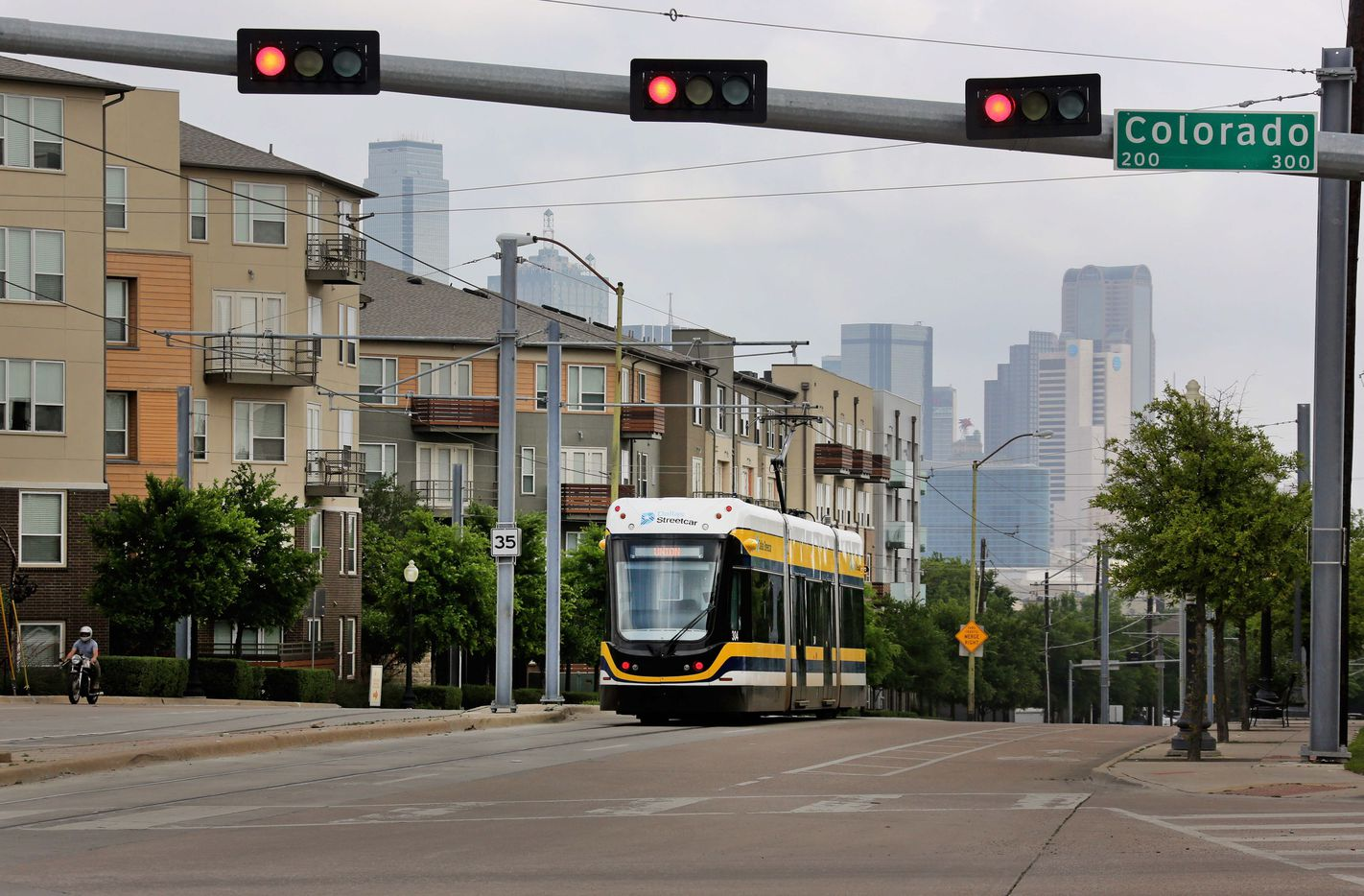 The Dallas streetcar approaches the intersection of Zang and Colorado as it ambles along its route in Oak Cliff just past the Oakenwald stop, photographed on Thursday, April 13, 2017.