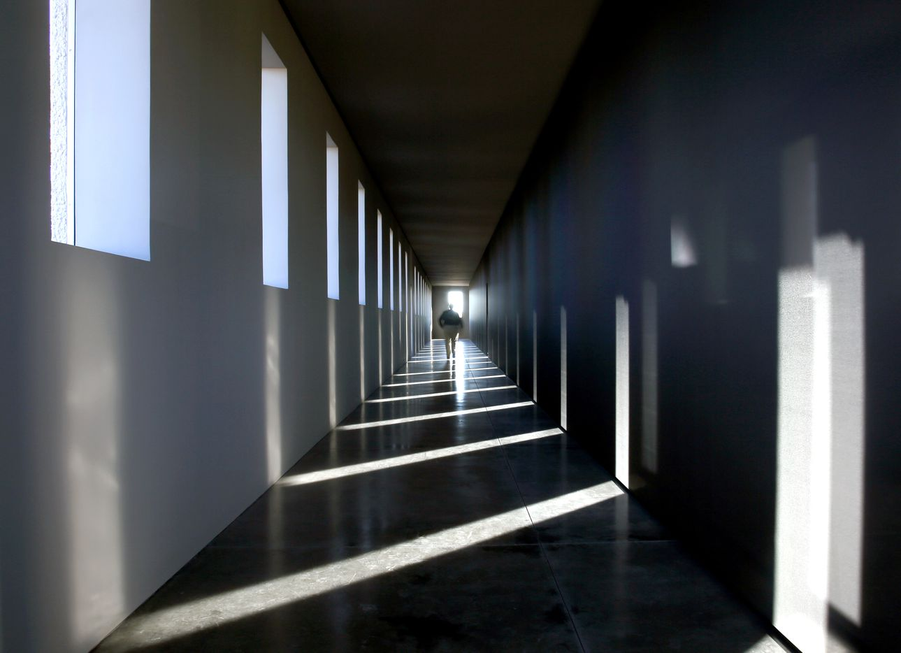 Light and shadow play in the Robert Irwin Untitled (dawn to dusk) 2016 permanent installation at the Chinati Foundation in Marfa. (Guy Reynolds/ Dallas Morning News, Courtesy of the Chinati Foundation, © Robert Irwin /  Artists Rights Society (ARS), New York)