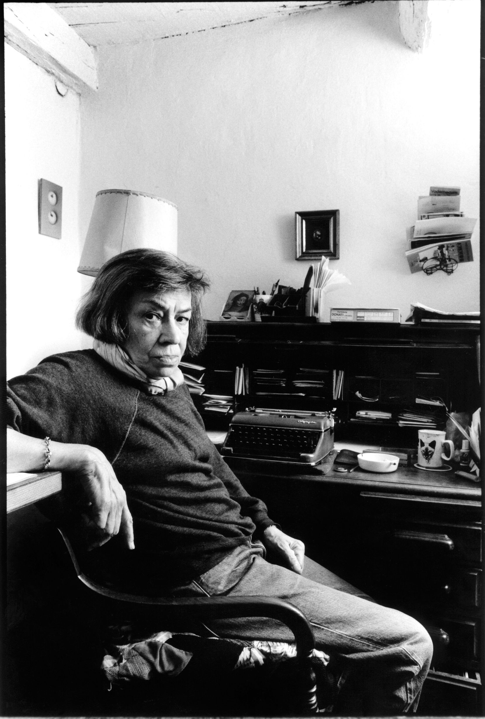 American novelist Patricia Highsmith at home in Locarno, Switzerland in September 1987.