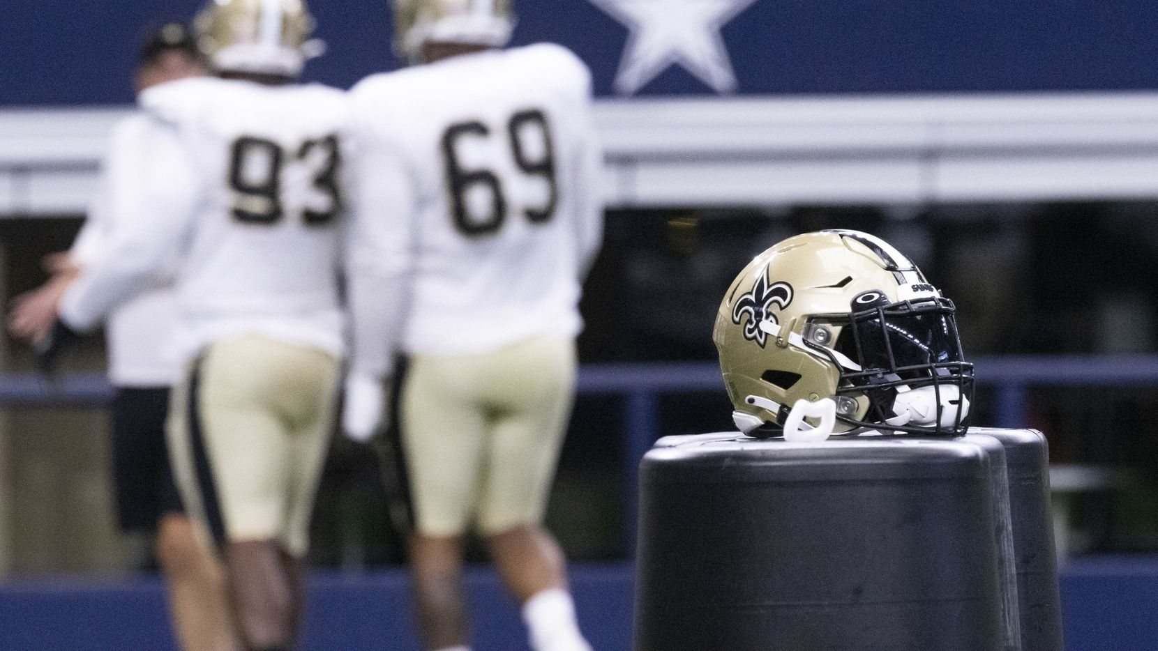 New Orleans Saints practice on Monday, Aug. 30, 2021, at AT&T Stadium in Arlington. The New Orleans Saints are practicing at AT&T Stadium after evacuating from Hurricane Ida.