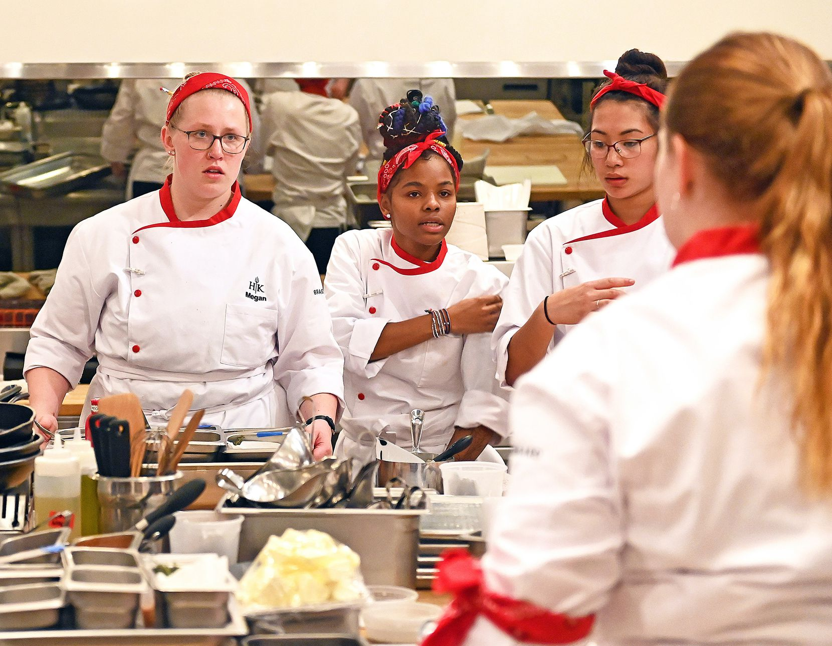 Denton chef Megan Gill, on left, competes against Keanu Hogan, center, and Brynn Gibson on 'Hell's Kitchen: Young Guns.' All of the contestants were 23 years old or younger at the time of filming.
