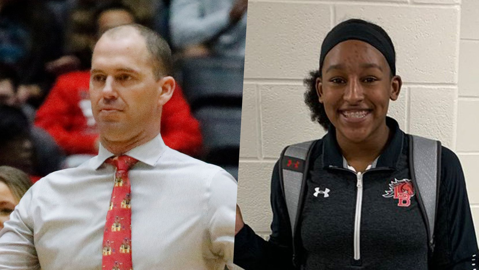 Frisco Liberty head coach Ross Reedy (left) and Mansfield Legacy guard Savannah Catalon.