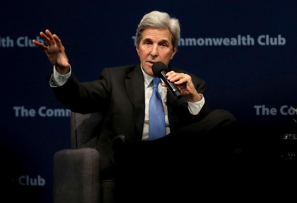 Former U.S. Secretary of State John Kerry  speaks during a Commonwealth Club of California event at the Marines' Memorial Theatre on September 13, 2018 in San Francisco.