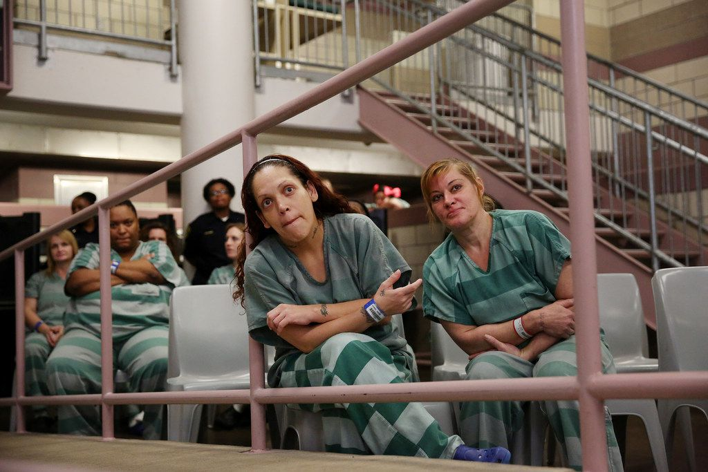 Inmate Carmen Lopez (center) and other inmates attend a program inside Dallas County Jail's Kays Tower in September. A lawsuit regarding bail practices in Harris County could have far-reaching implications for county jails throughout Texas.