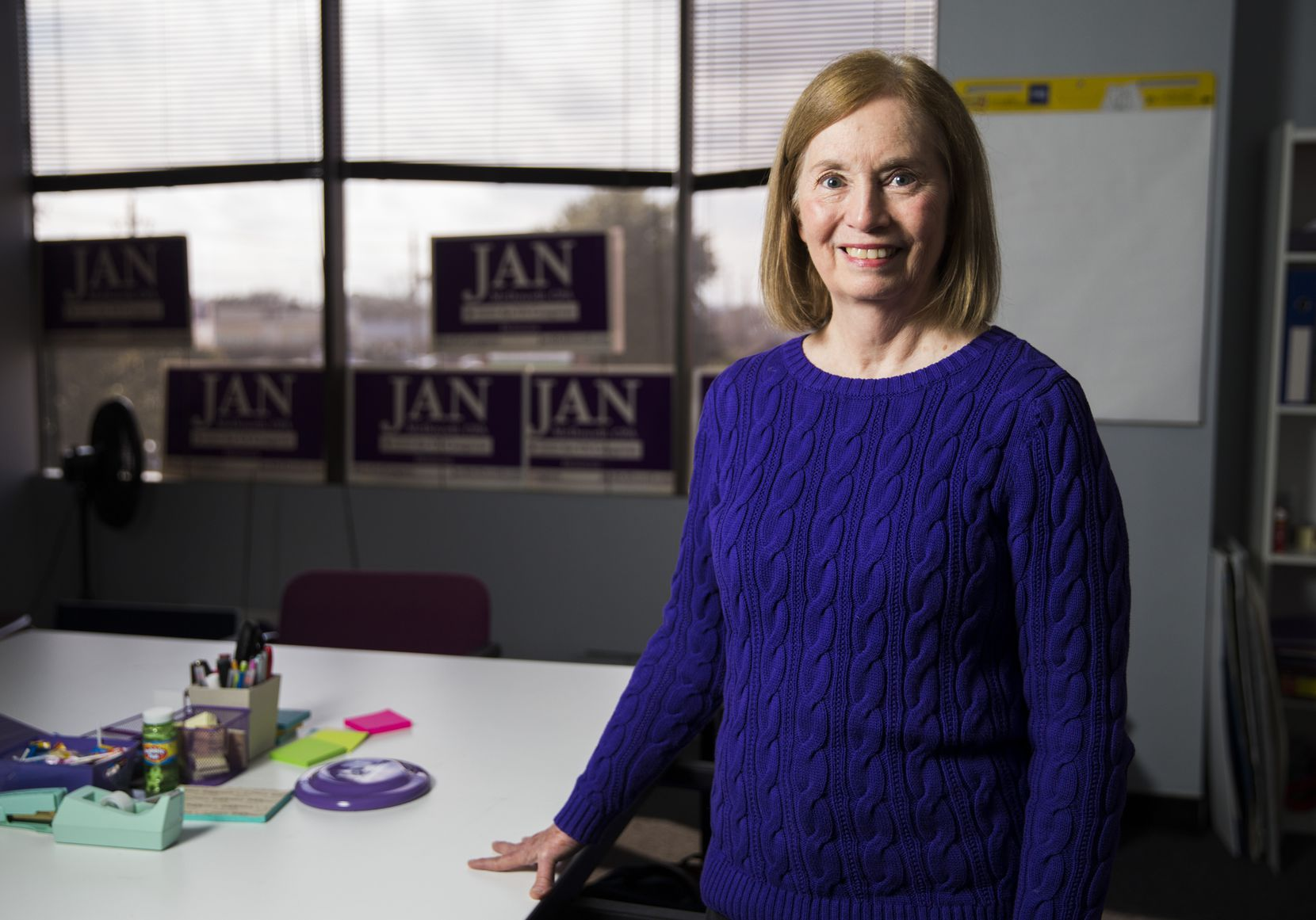 Jan McDowell, a Democratic candidate for the 24th Congressional District, poses for a portrait at her campaign office.